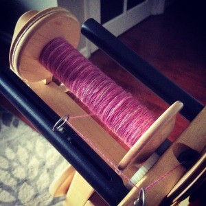 JulieSpins Braid of Merino Silk in Black Cherry Blossom